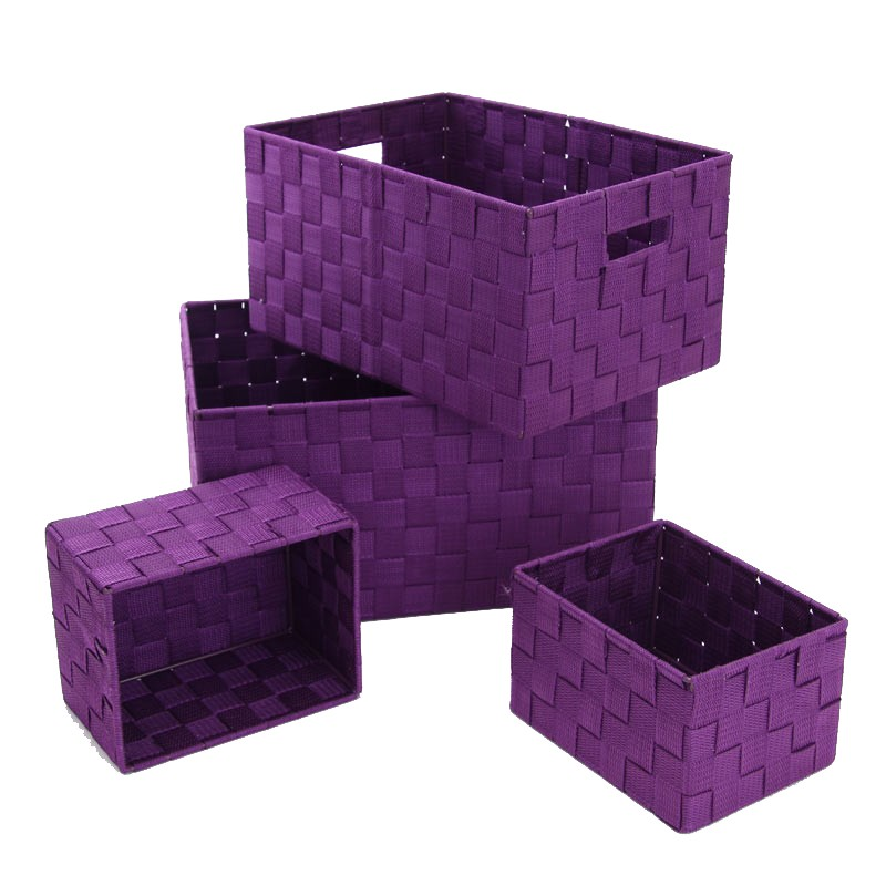 set de 4 paniers de rangement violet. Black Bedroom Furniture Sets. Home Design Ideas