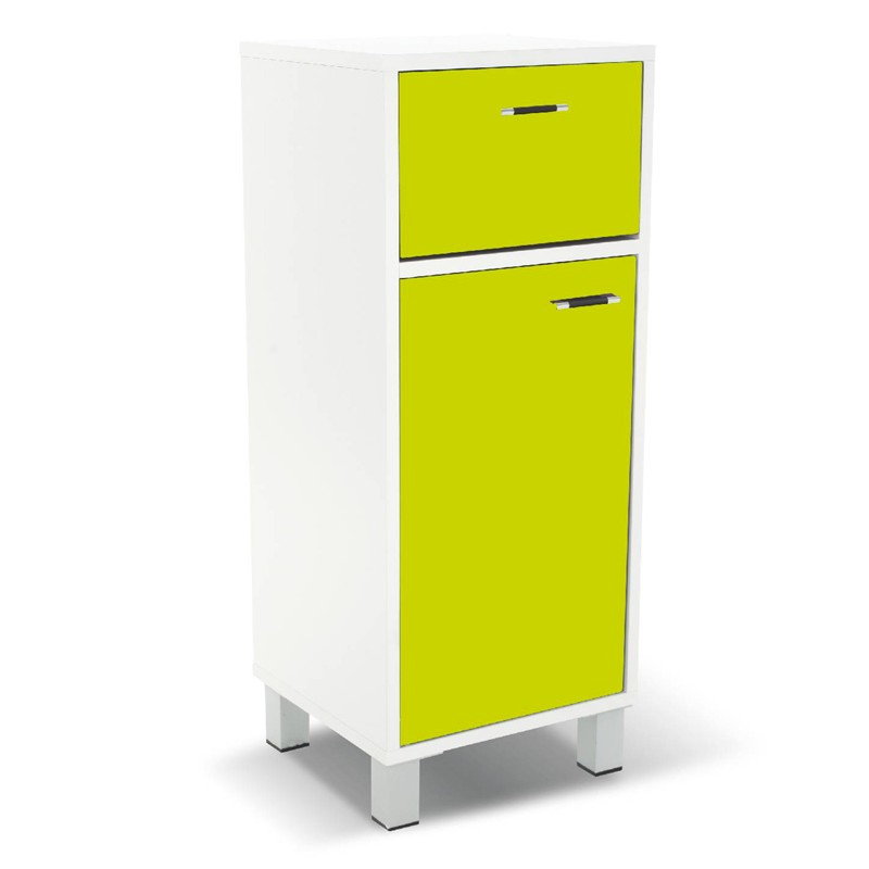 Meuble bas 1 porte gloss vert for Meuble 1 porte