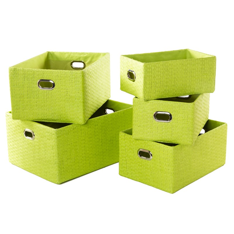 set de 5 paniers de rangement en papier vert anis. Black Bedroom Furniture Sets. Home Design Ideas